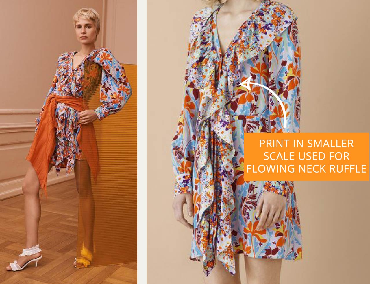 Details in Floral Prints at Stine Goya PF19 - The Cutting Class. Floral print ruffle on neckline.