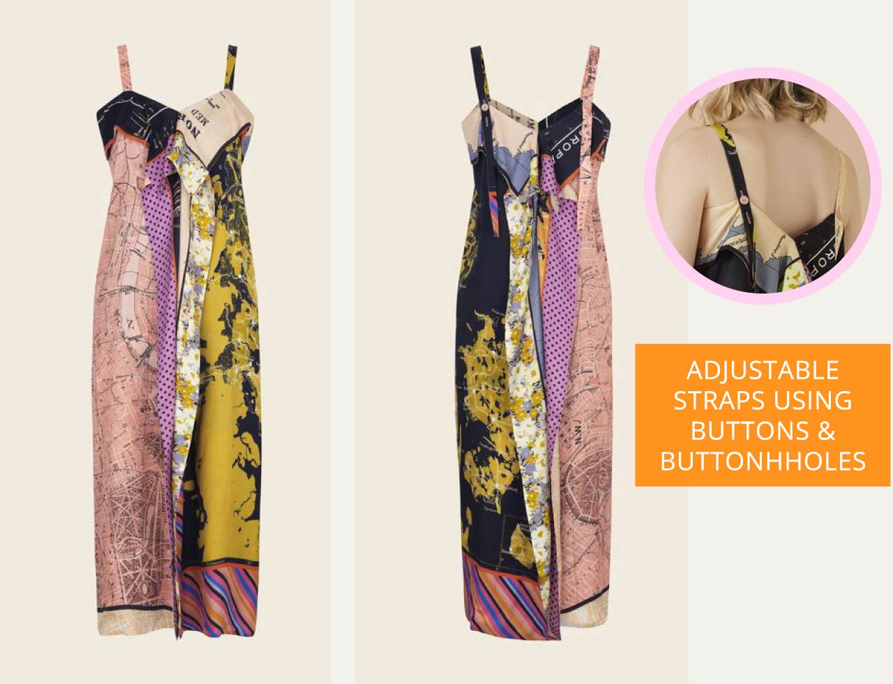Details in Floral Prints at Stine Goya PF19 - The Cutting Class. Adjustable dress straps with buttons and buttonholes.