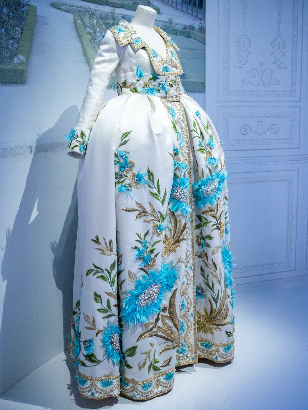 White and blue coat-dress. Christian Dior by John Galliano, Haute Couture, Spring-Summer 2005. Taken at the V&A exhibition © The Cutting Class, 2019. Image 1.