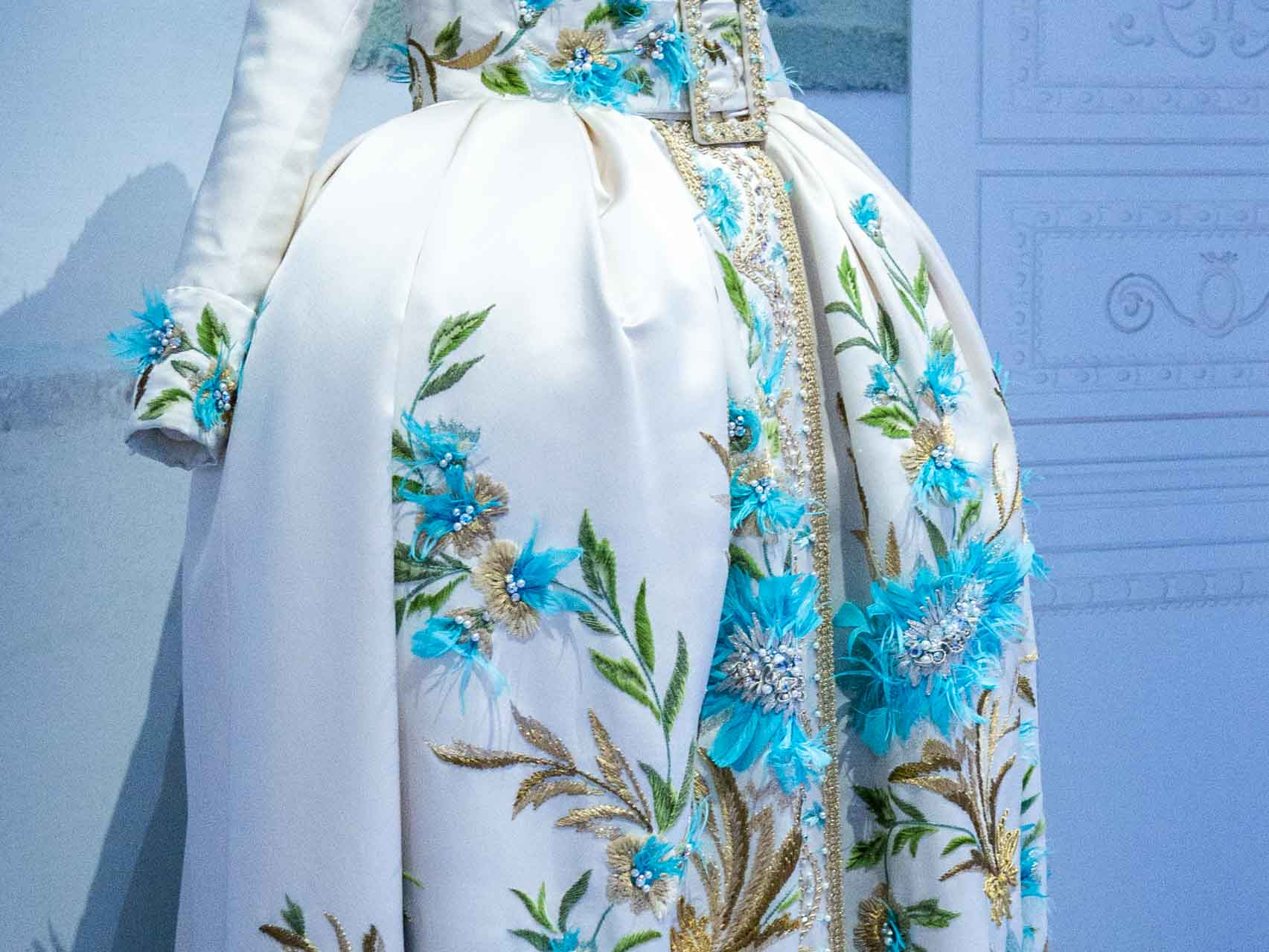 White and blue coat-dress. Christian Dior by John Galliano, Haute Couture, Spring-Summer 2005. Taken at the V&A exhibition © The Cutting Class, 2019. Image 2.