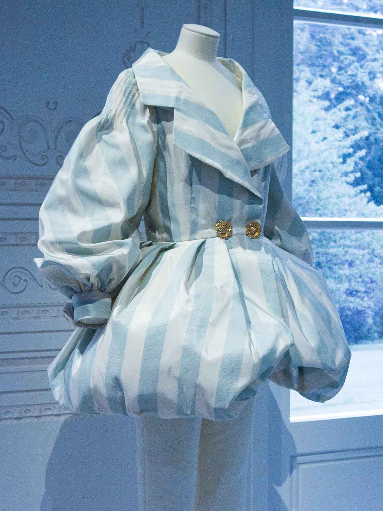 White and blue jacket inspired by women's riding habit 1700s. Christian Dior by Gianfranco Ferré, Ready-to-wear, Spring-Summer 1993. Taken at the V&A exhibition © The Cutting Class, 2019.