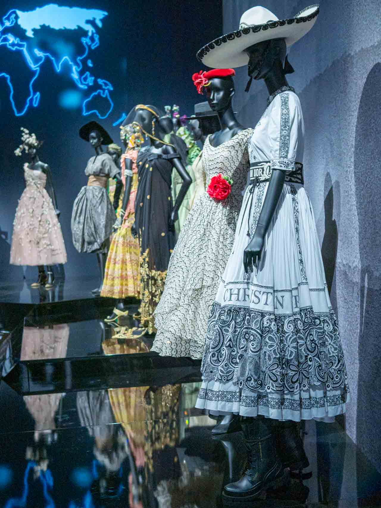 Designs inspired by Dior's travels. Christian Dior: Designer of Dreams. Taken at the V&A exhibition © The Cutting Class, 2019.