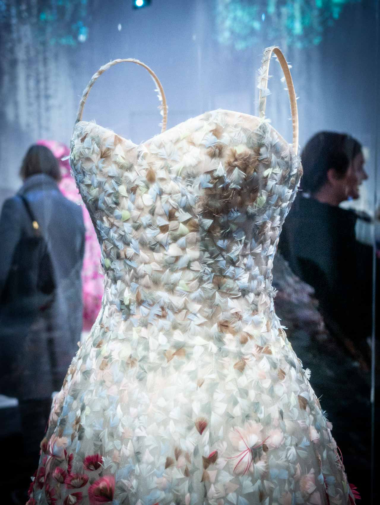 Jardin Fleuri Dress 'Garden in Bloom'Dress with feathered detail by Maria Grazia Chiuri for Christian Dior, Haute Couture, Spring-Summer 2017. Taken at the V&A exhibition © The Cutting Class, 2019.