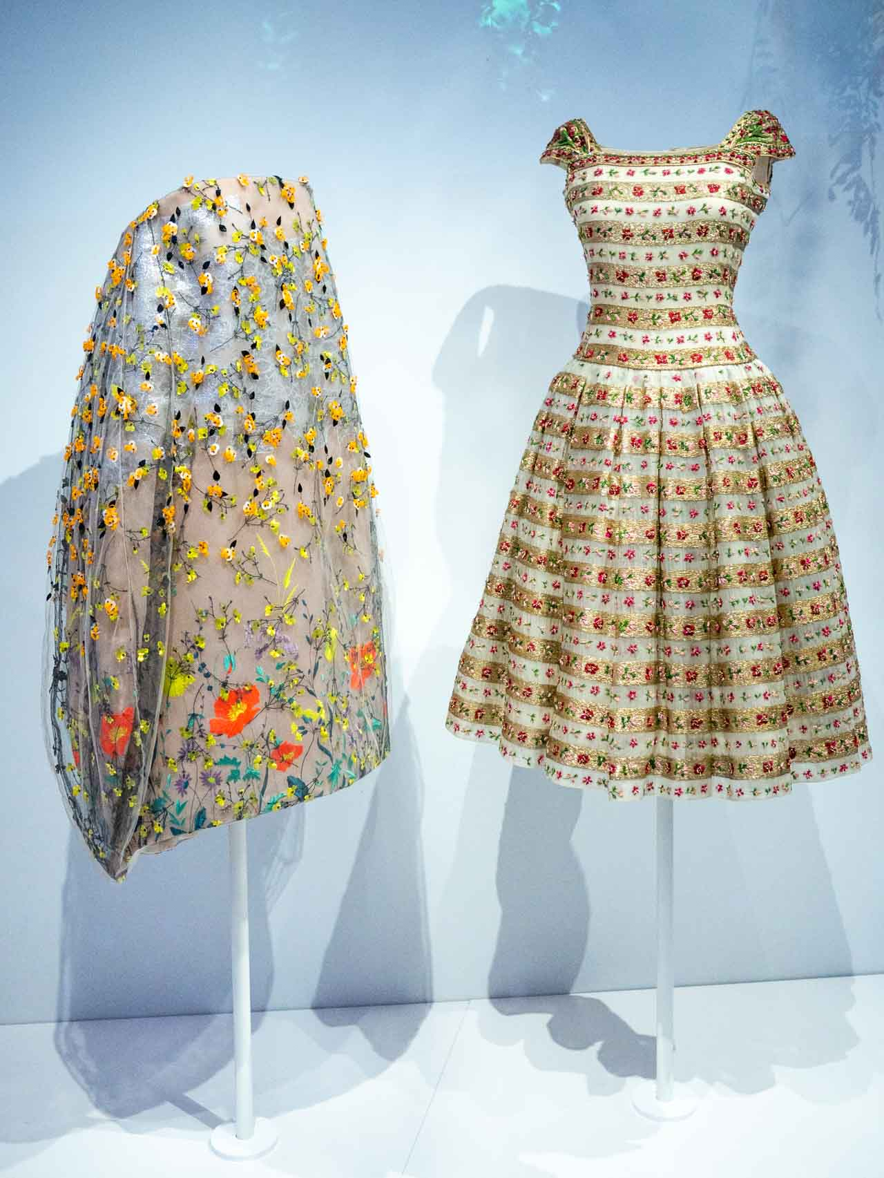 Dresses by Christian Dior and Raf Simons for Christian Dior inspired by the garden. Taken at the V&A exhibition © The Cutting Class, 2019.
