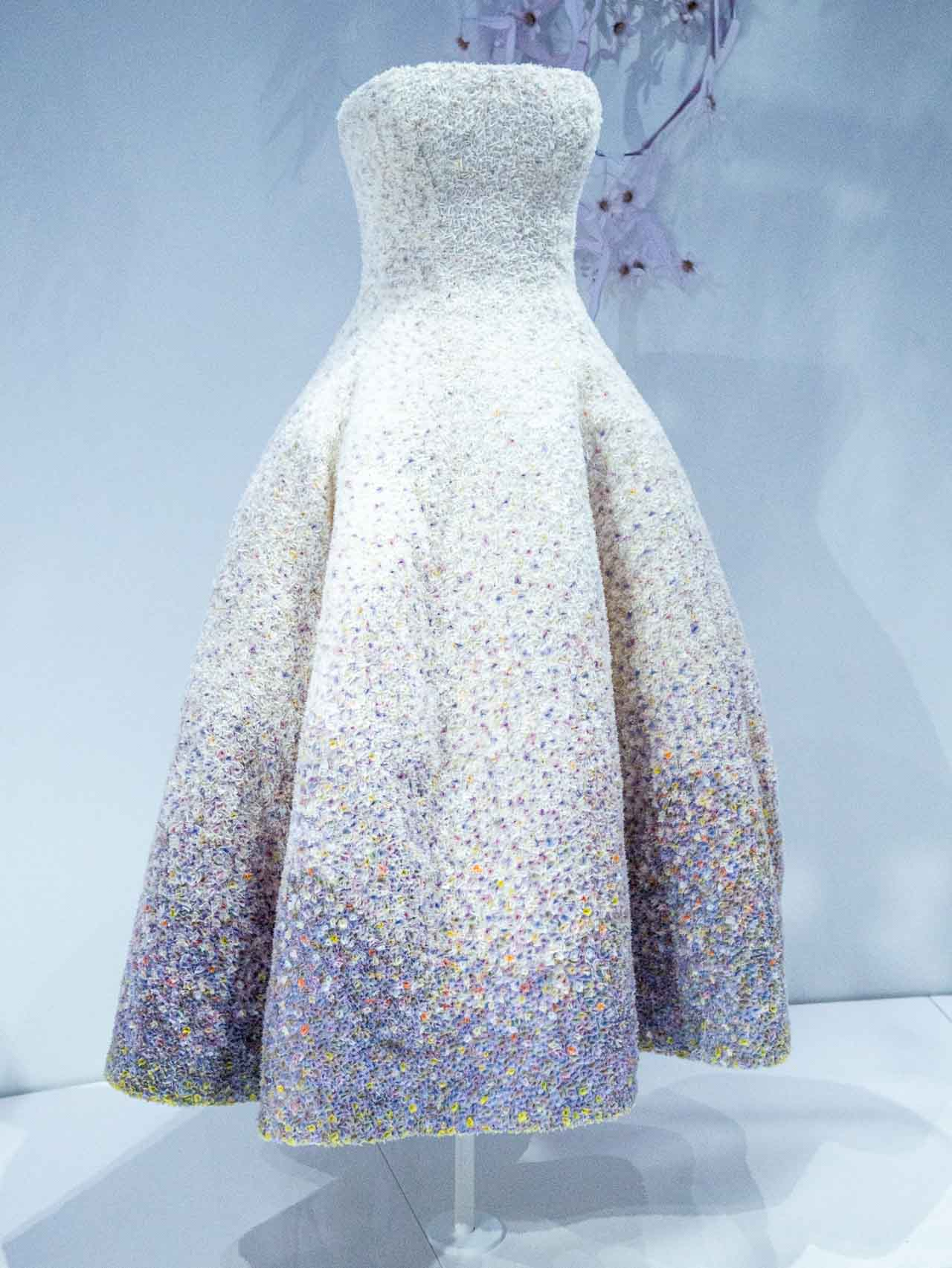 White and lilac embellished dress. Christian Dior by Raf Simons, Haute Couture, Autumn-Winter 2012. Taken at the V&A exhibition © The Cutting Class, 2019.