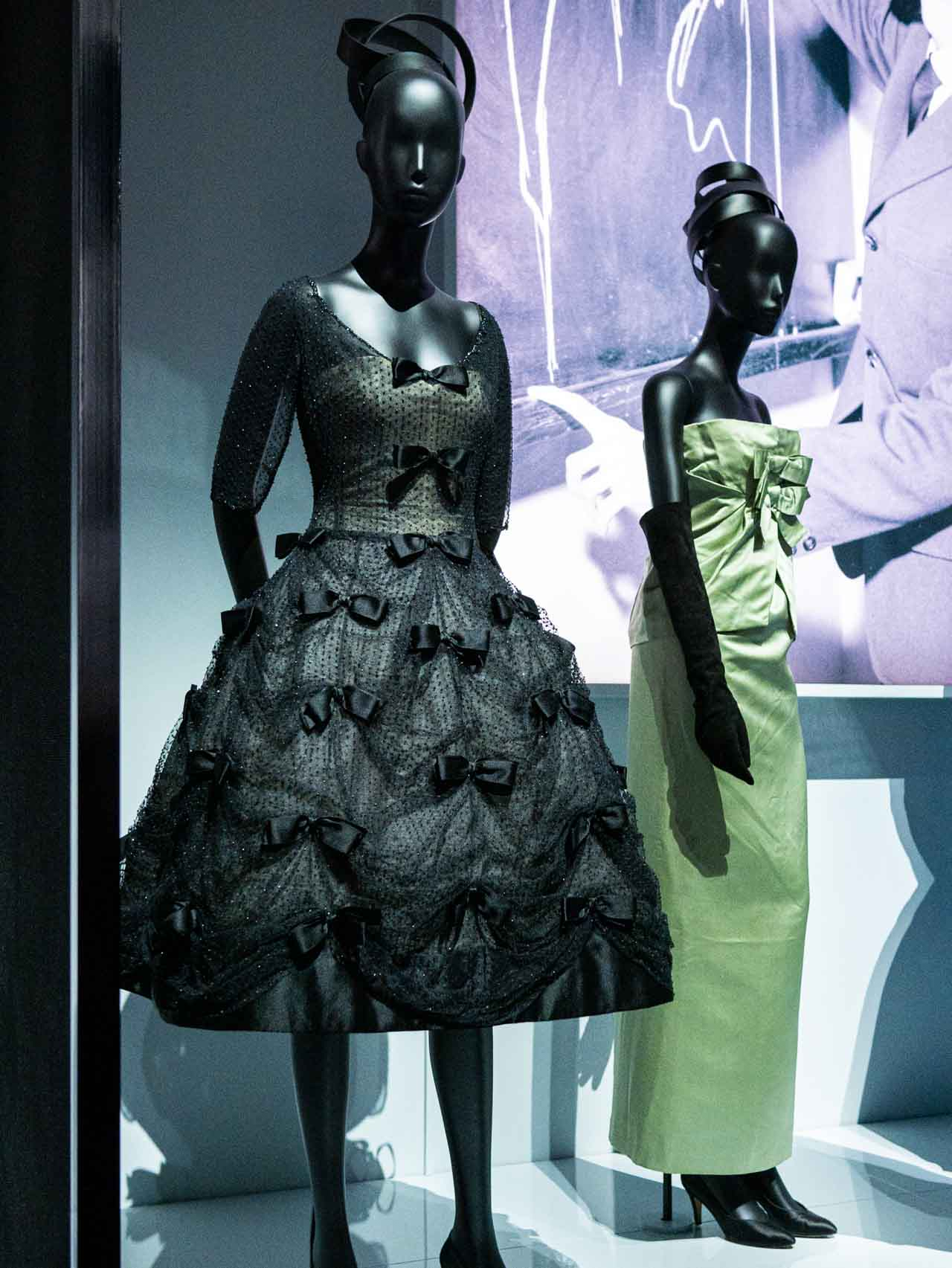Yves Saint Laurent for Christian Dior. Black Bal Masqué dress, 1958. Green Soirée Intime dress, 1960. Taken at the V&A exhibition © The Cutting Class, 2019.