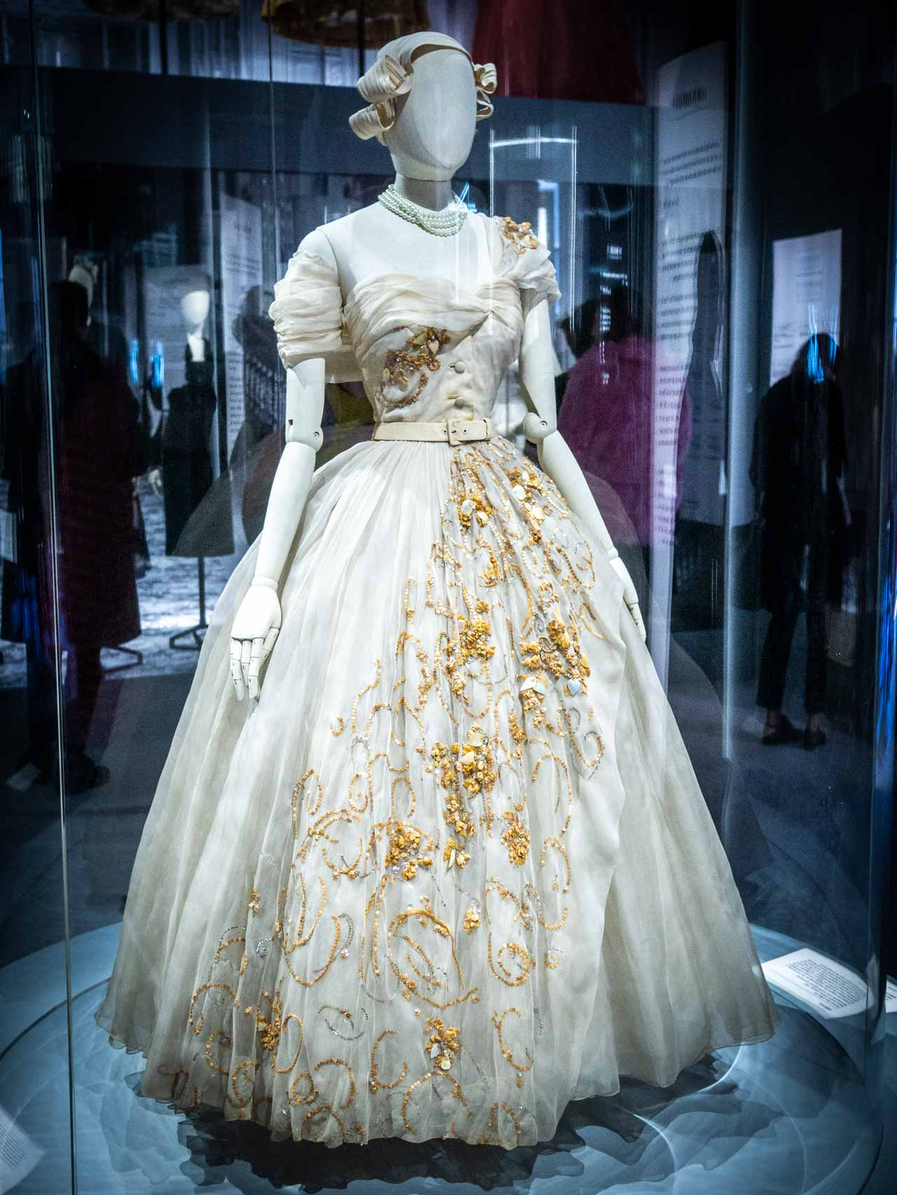 Dress designed for Princess Margaret by Christian Dior at the V&A Exhibition. © The Cutting Class, 2019. Image 1.