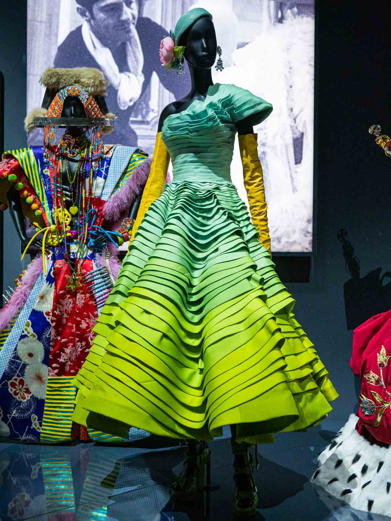 Designs by John Galliano for Christian Dior. Taken at the V&A exhibition © The Cutting Class, 2019. Tiered haute couture dress.