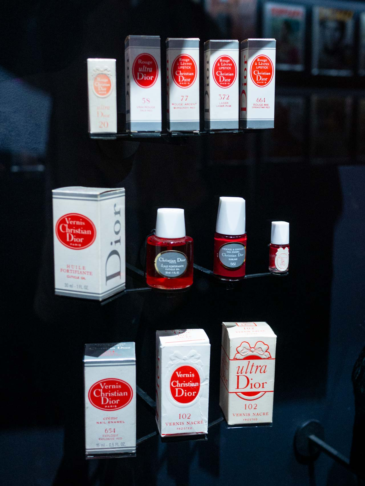 Examples of Christian Dior beauty product packaging. Taken at the V&A exhibition © The Cutting Class, 2019.