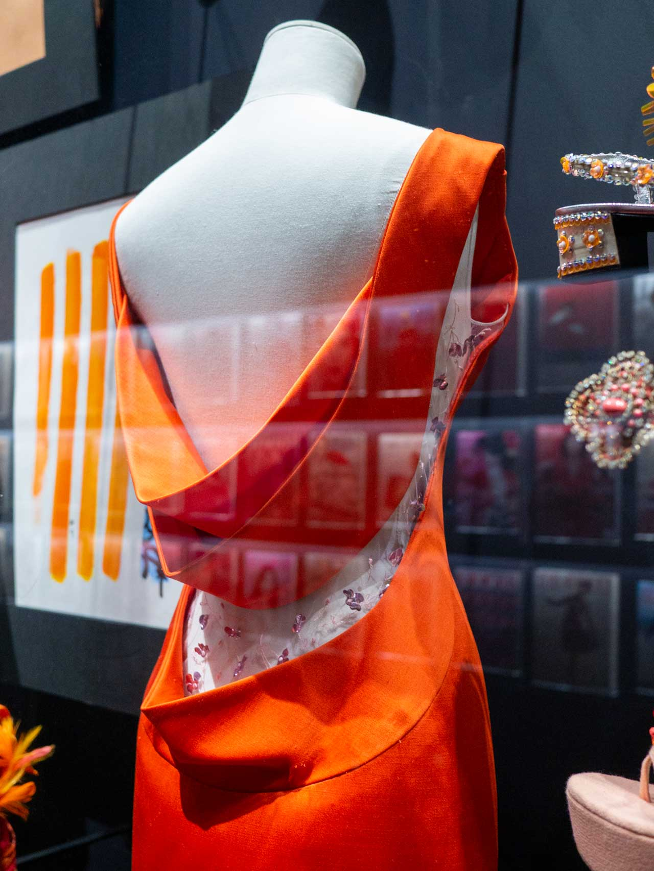 Detail of orange wool dress by Raf Simons for Christian Dior, Haute Couture, Spring-Summer 2013. Taken at the V&A exhibition © The Cutting Class, 2019.