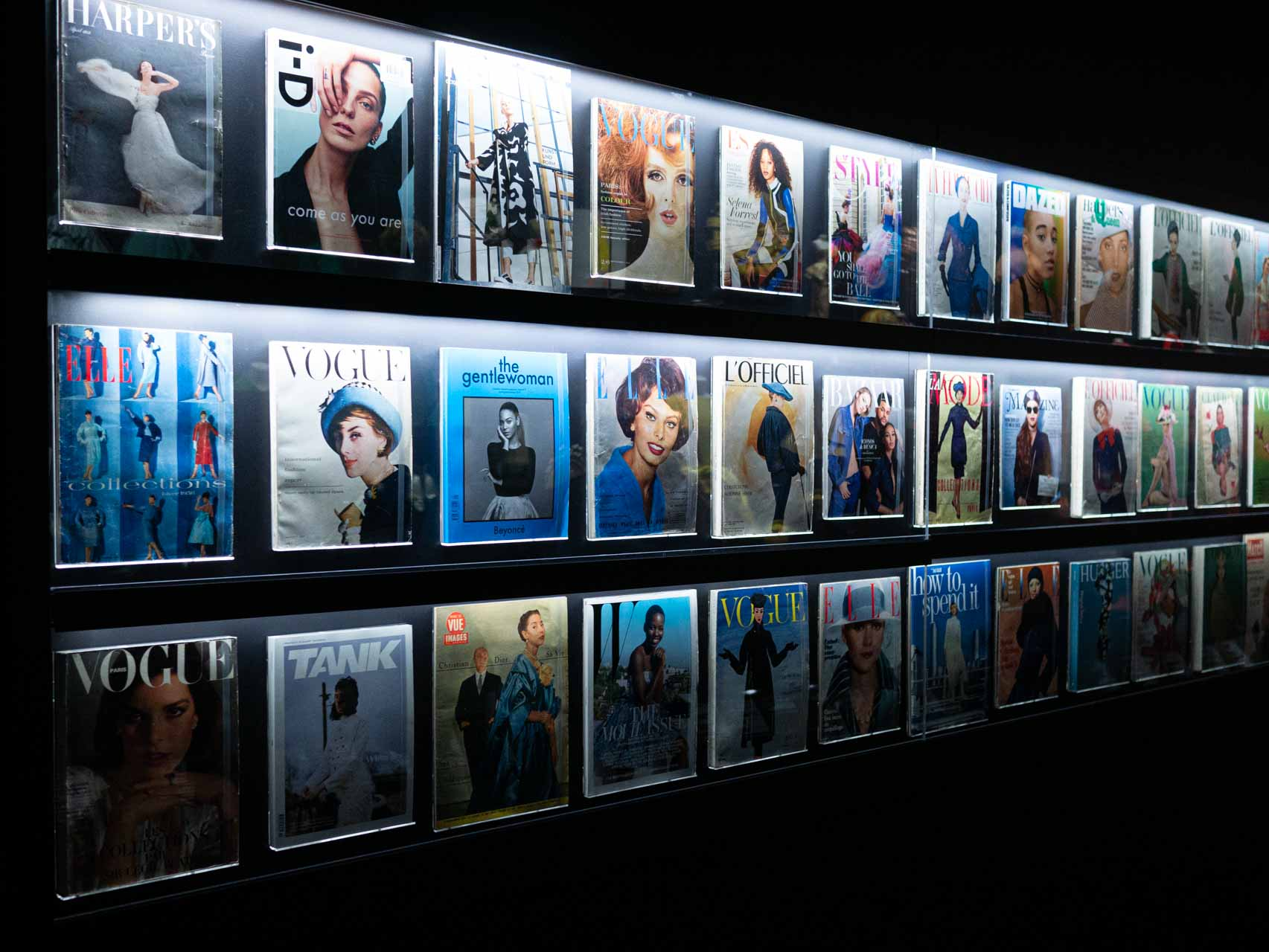 Examples of magazine covers featuring Christian Dior. Taken at the V&A exhibition © The Cutting Class, 2019.