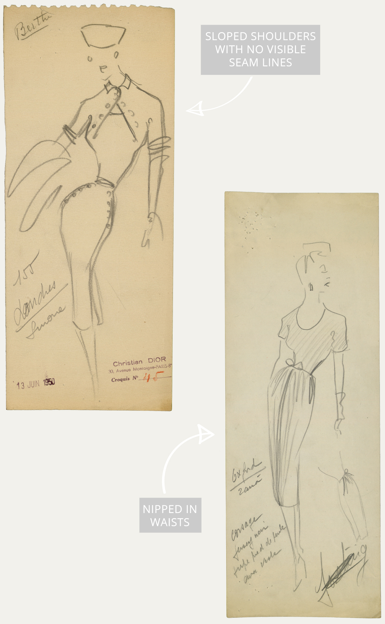 Christian Dior: Designer of Dreams. The Cutting Class. Sketch by Christian Dior for model Londres, Autumn-Winter 1950 Haute Couture collection © Christian Dior. Sketch by Christian Dior for model Oxford, Spring-Summer 1947 Haute Couture collection © Christian Dior.
