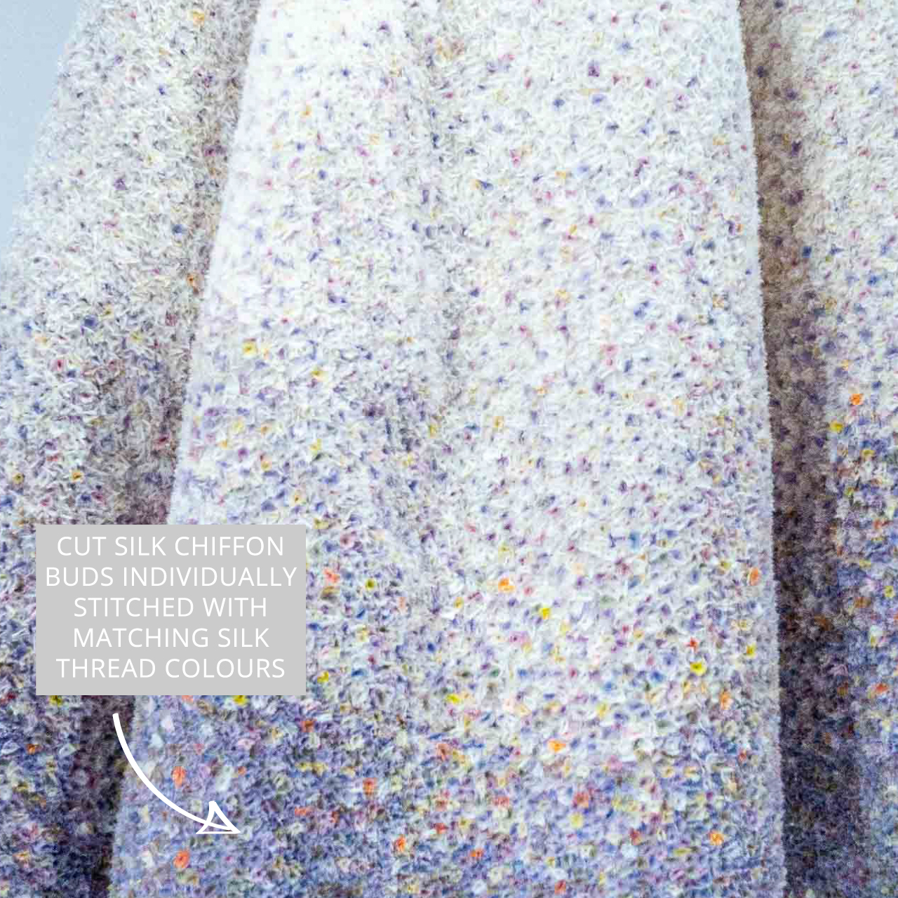 Silk chiffon bud embellishment. Christian Dior by Raf Simons, Haute Couture, Autumn-Winter 2012. Taken at the V&A exhibition © The Cutting Class, 2019.
