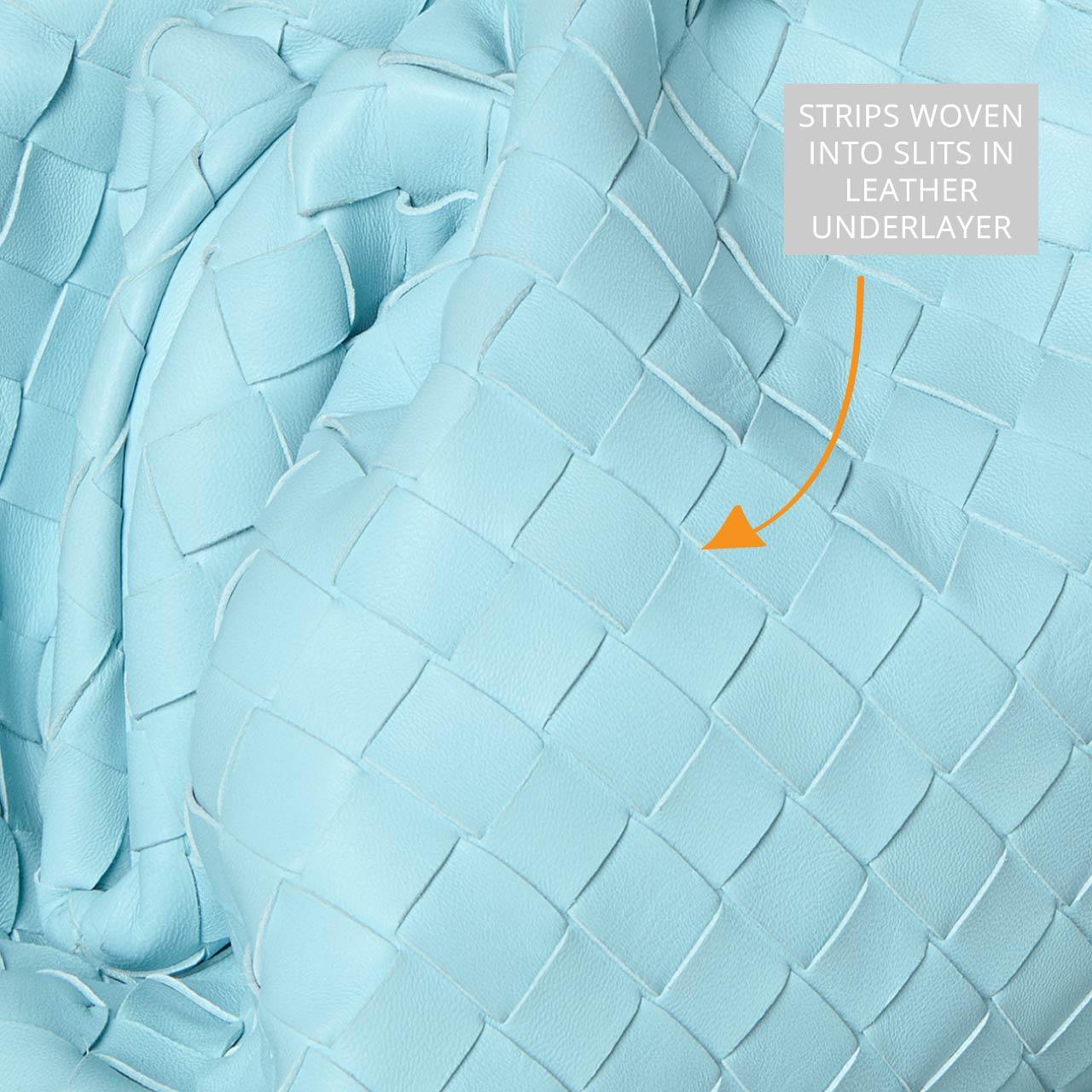 Bottega Veneta Intrecciato Weave | The Cutting Class. Detailed view of smaller Intrecciato weave in Topazio.
