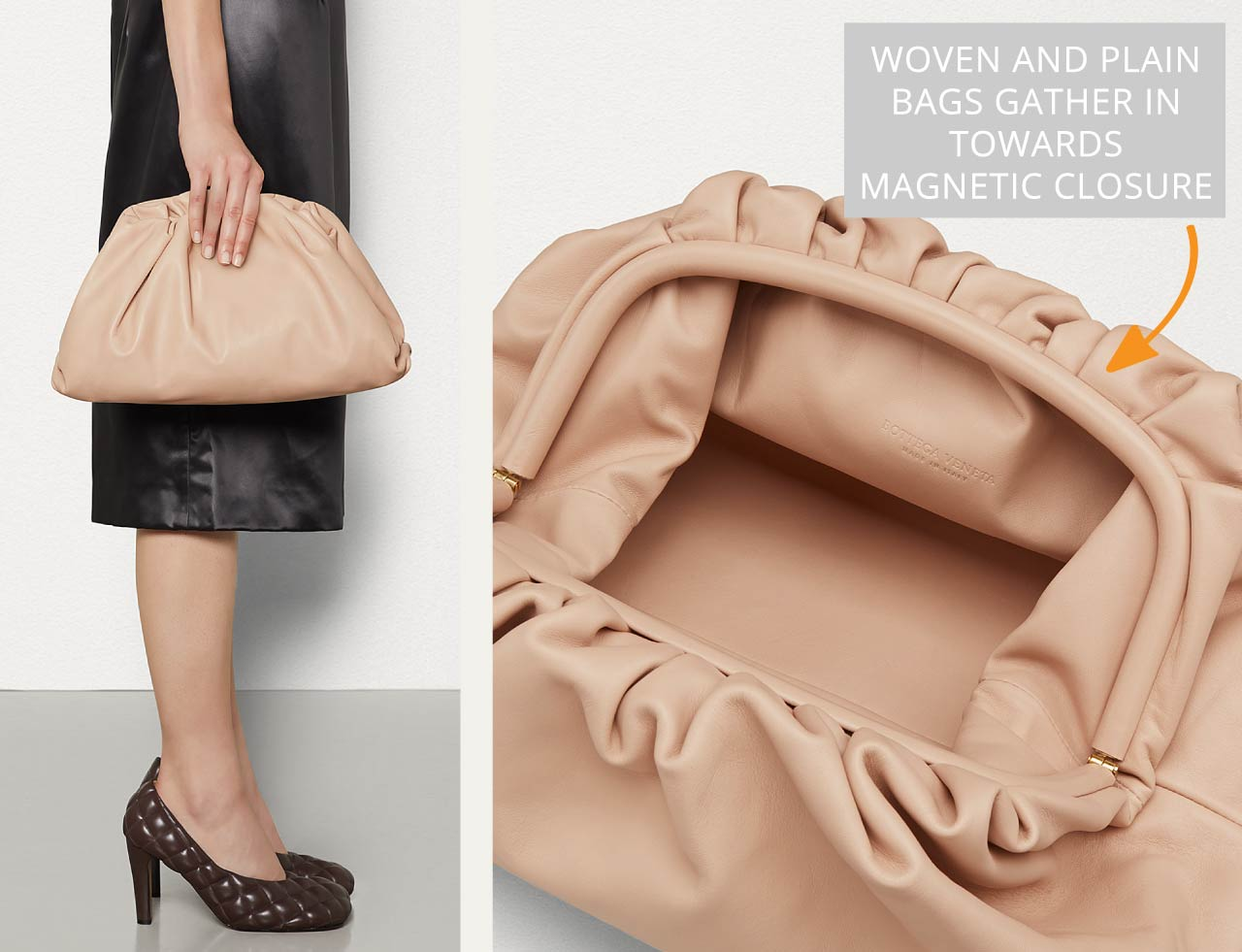 Bottega Veneta Intrecciato Weave | The Cutting Class. Leather is gathered in to meet magnetic clasp.
