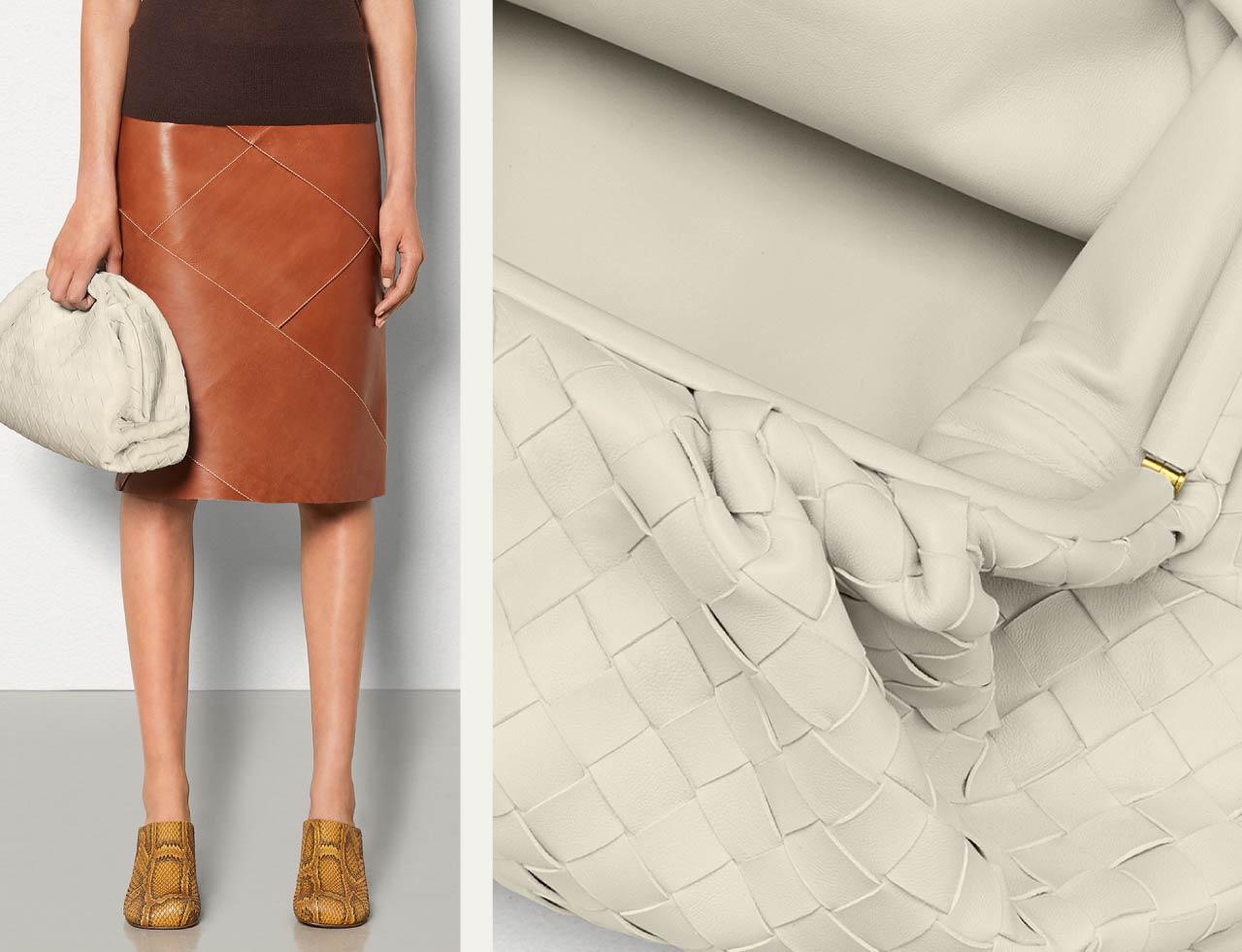 Bottega Veneta Intrecciato Weave | The Cutting Class. The Pouch bag in Plaster.