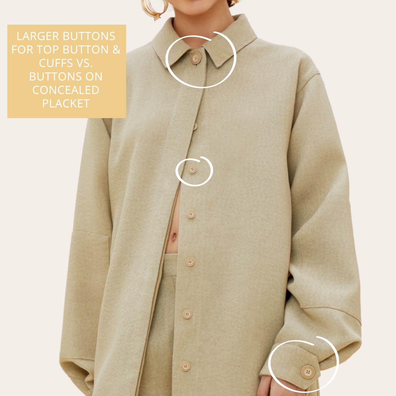 Details on Jacquemus Raw Silk Shirt | The Cutting Class. Jacquemus AW19 'La chemise Loya' in dark beige with larger buttons for top button and cuffs.