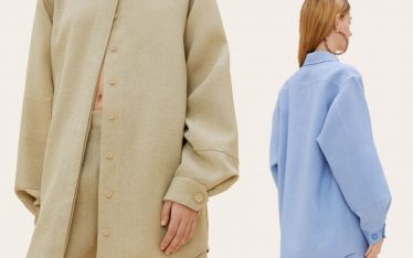 Details on Jacquemus Raw Silk Shirt | The Cutting Class. Jacquemus shirt details from AW19 for the 'La chemise Loya' in dark beige and light blue.