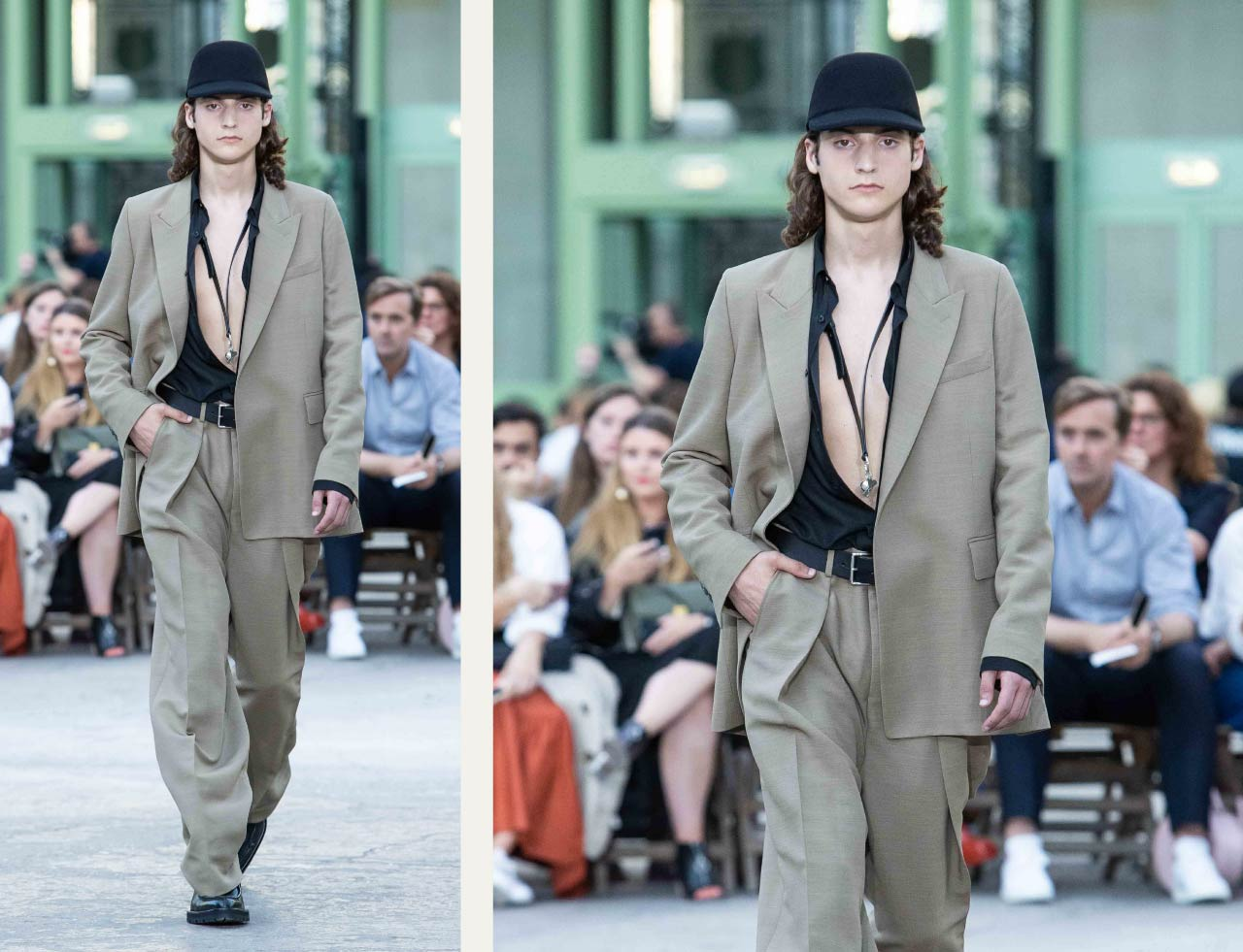 Tailored Jacket Hems - Straight or Curved? | The Cutting Class. Ami, SS20, Paris. Suit jacket with slightly rounded front corner.