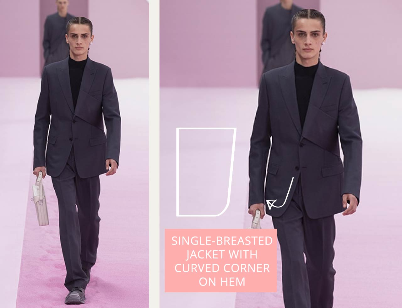 Tailored Jacket Hems - Straight or curved? | The Cutting Class. Dior Menswear SS20. Single-breasted suit jacket from creative director Kim Jones.