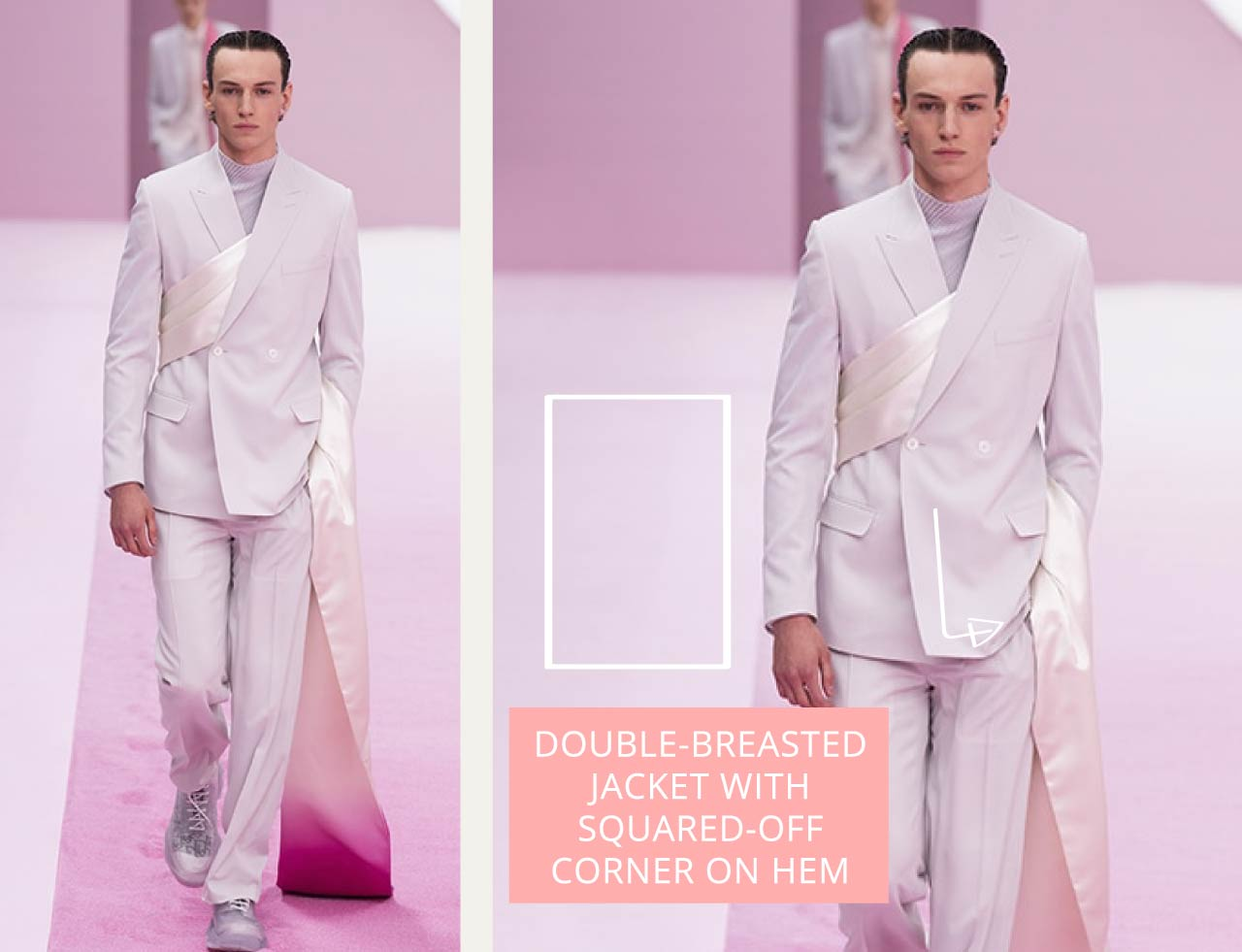 Tailored Jacket Hems - Straight or curved? | The Cutting Class. Dior Menswear SS20. Double-breasted jacket with sash detail from creative director Kim Jones.