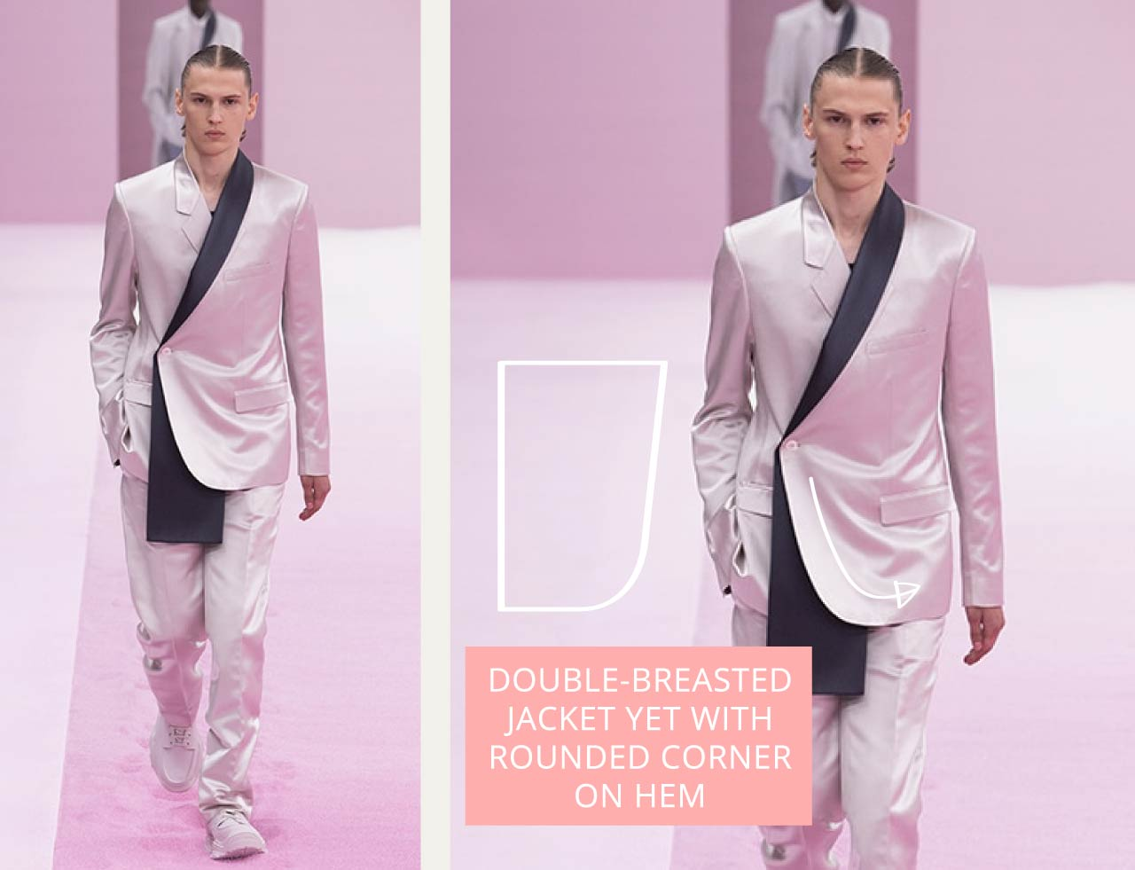 Tailored Jacket Hems - Straight or curved? | The Cutting Class. Dior Menswear SS20. Double-breasted jacket with curved front corner.