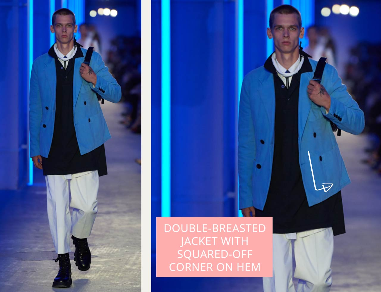 Tailored Jacket Hems - Straight or Curved? | The Cutting Class. Prada, Menswear SS20. Double-breasted suit jacket in bright blue.