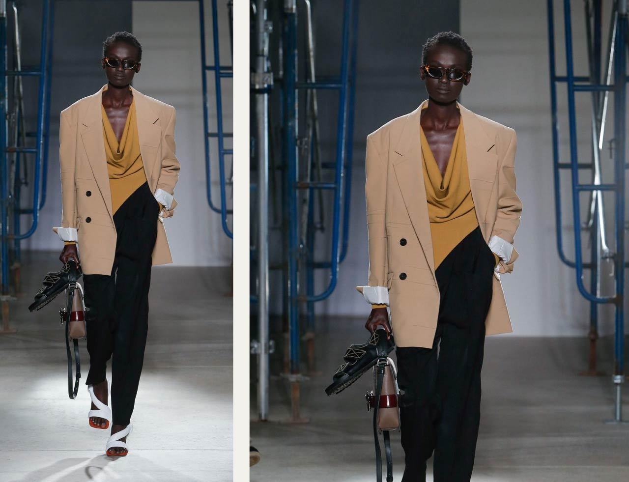 Proenza Schouler, SS20 on The Cutting Class. Oversized double-breasted suit jacket.