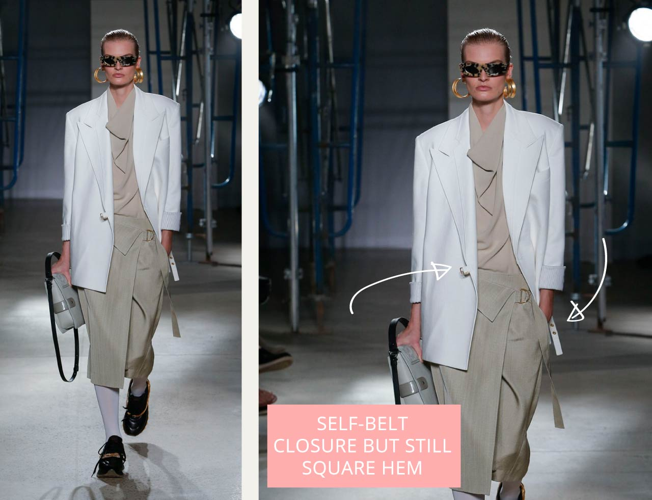 Proenza Schouler, SS20 on The Cutting Class. Self belt closure on suit jacket with straight front corners.