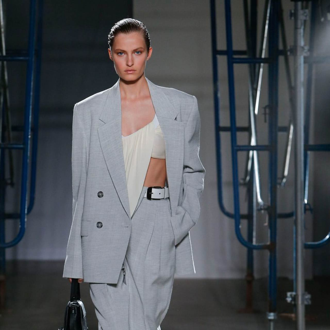 Tailored Jacket Hems - Straight or Curved? | The Cutting Class. Proenza Schouler, SS20. Double breasted jacket in grey.