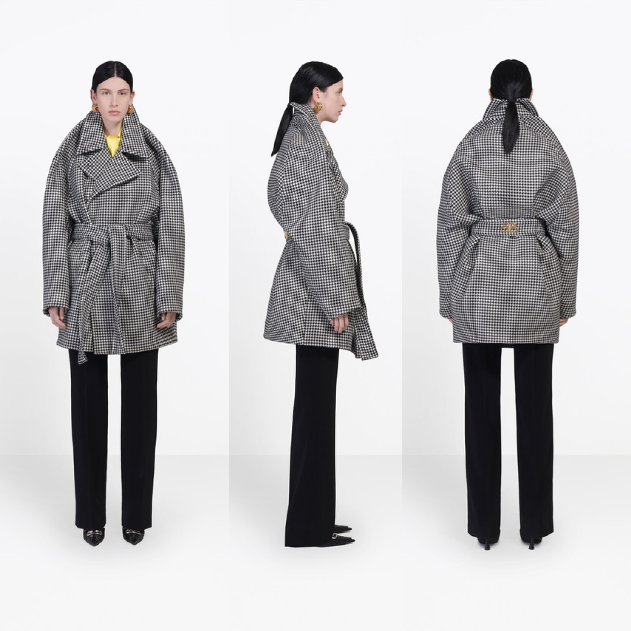Pinched Shoulders at Balenciaga | The Cutting Class. Front, back and side view of wrap coat, AW19.