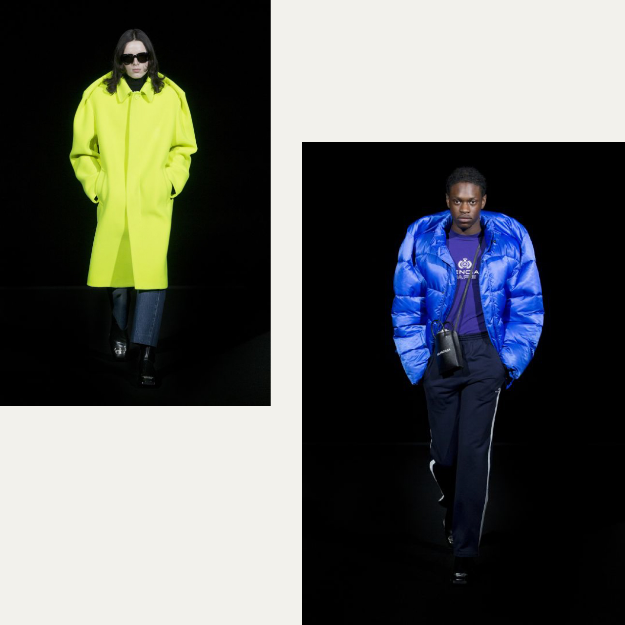 Pinched Shoulders at Balenciaga | The Cutting Class. Fluo yellow car coat, bright blue puffer jacket.