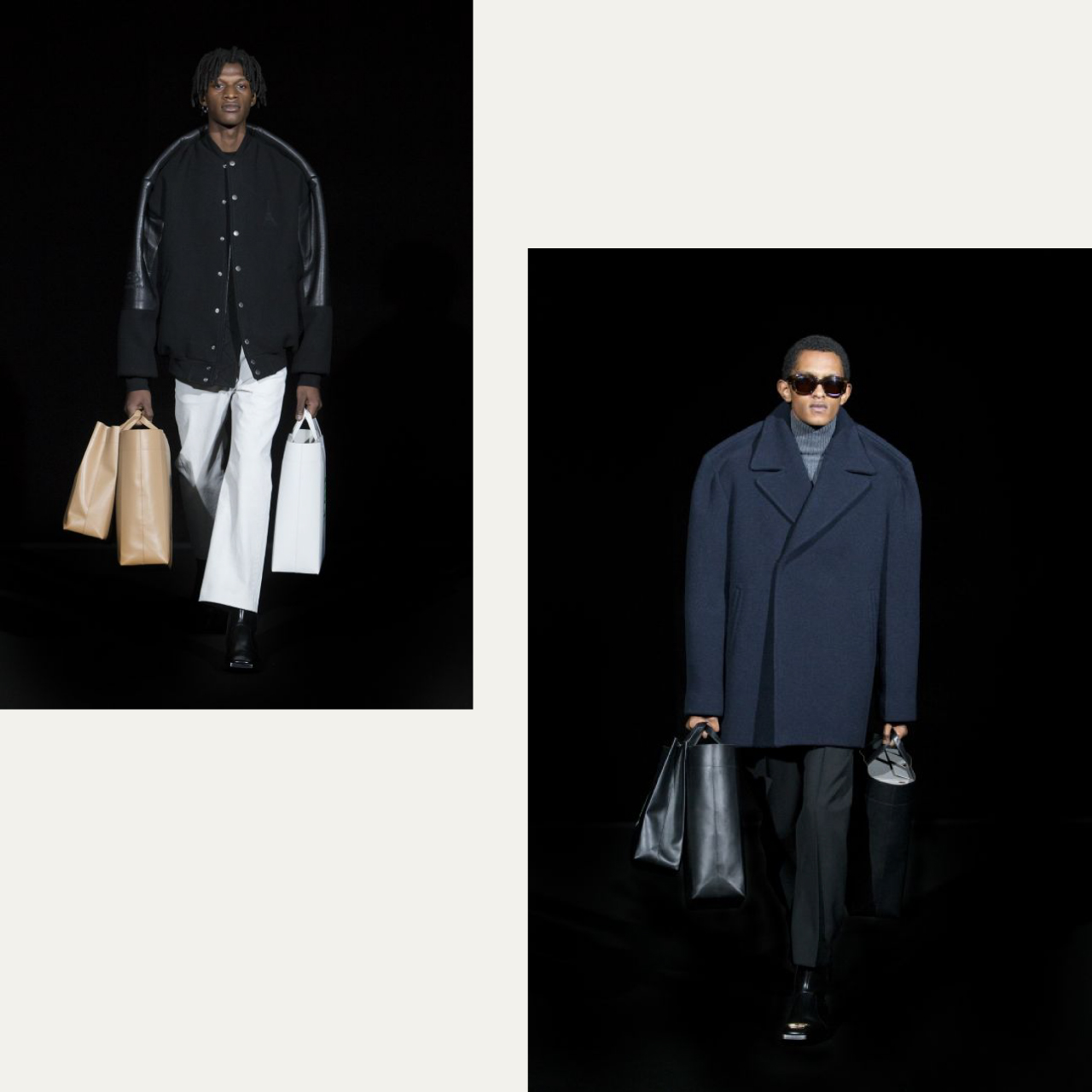 Pinched Shoulders at Balenciaga | The Cutting Class. Black bomber jacket, navy pea coat, AW19.