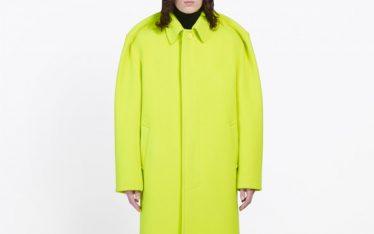 Pinched Shoulders at Balenciaga | The Cutting Class. Balenciaga tailoring AW19, Fluo Yellow Car Coat.