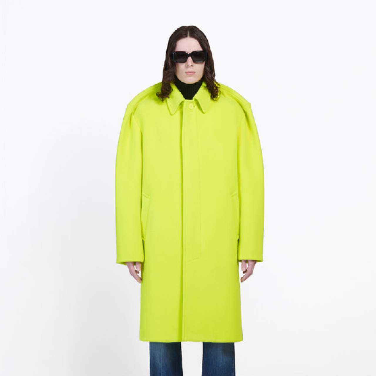 Pinched Shoulders at Balenciaga | The Cutting Class. Balenciaga tailoring AW19, Fluo Yellow Car Coat.