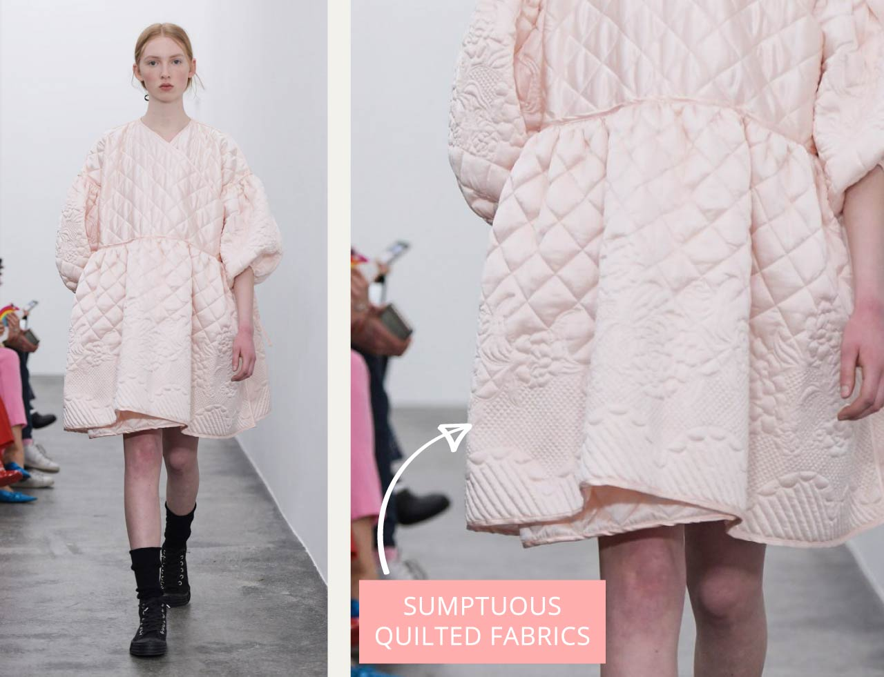 Sumptuous Quilting at Cecilie Bahnsen | The Cutting Class. Pale pink quilted satin dress Autumn-Winter 2018.
