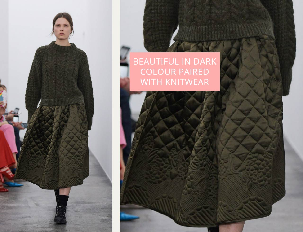 Rich olive green quilted skirt at Cecilie Bahnsen styled with knitwear. The Cutting Class.