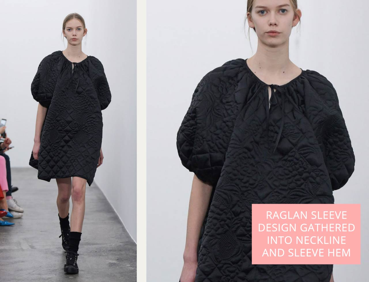 Quilted dress in black satin with raglan sleeves and gathered neckline from Cecilie Bahnsen AW18. The Cutting Class.