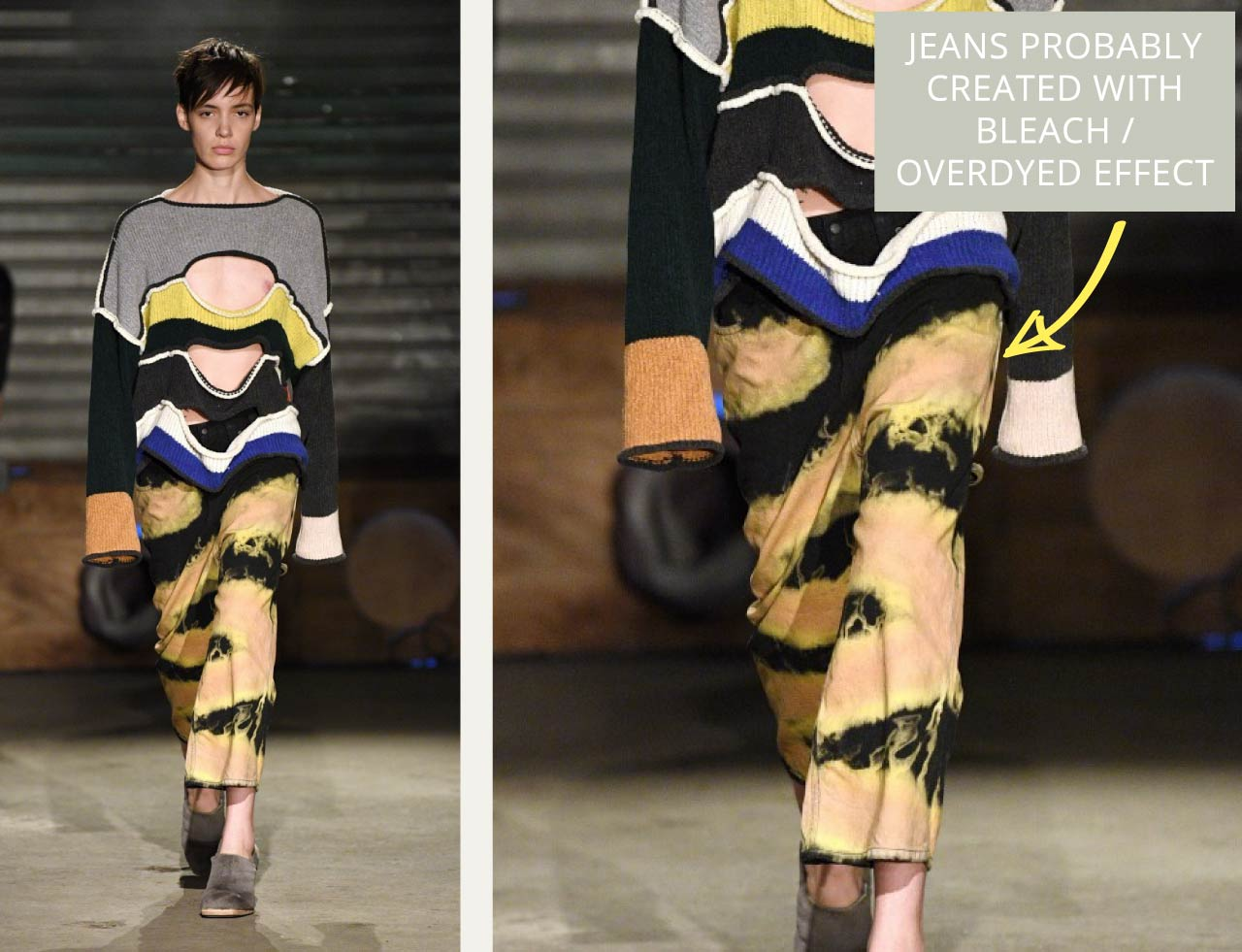 Bleached Jeans at Eckhaus Latta | The Cutting Class. AW19. Black jeans with zigzag bleack effect, possibly overdyed.