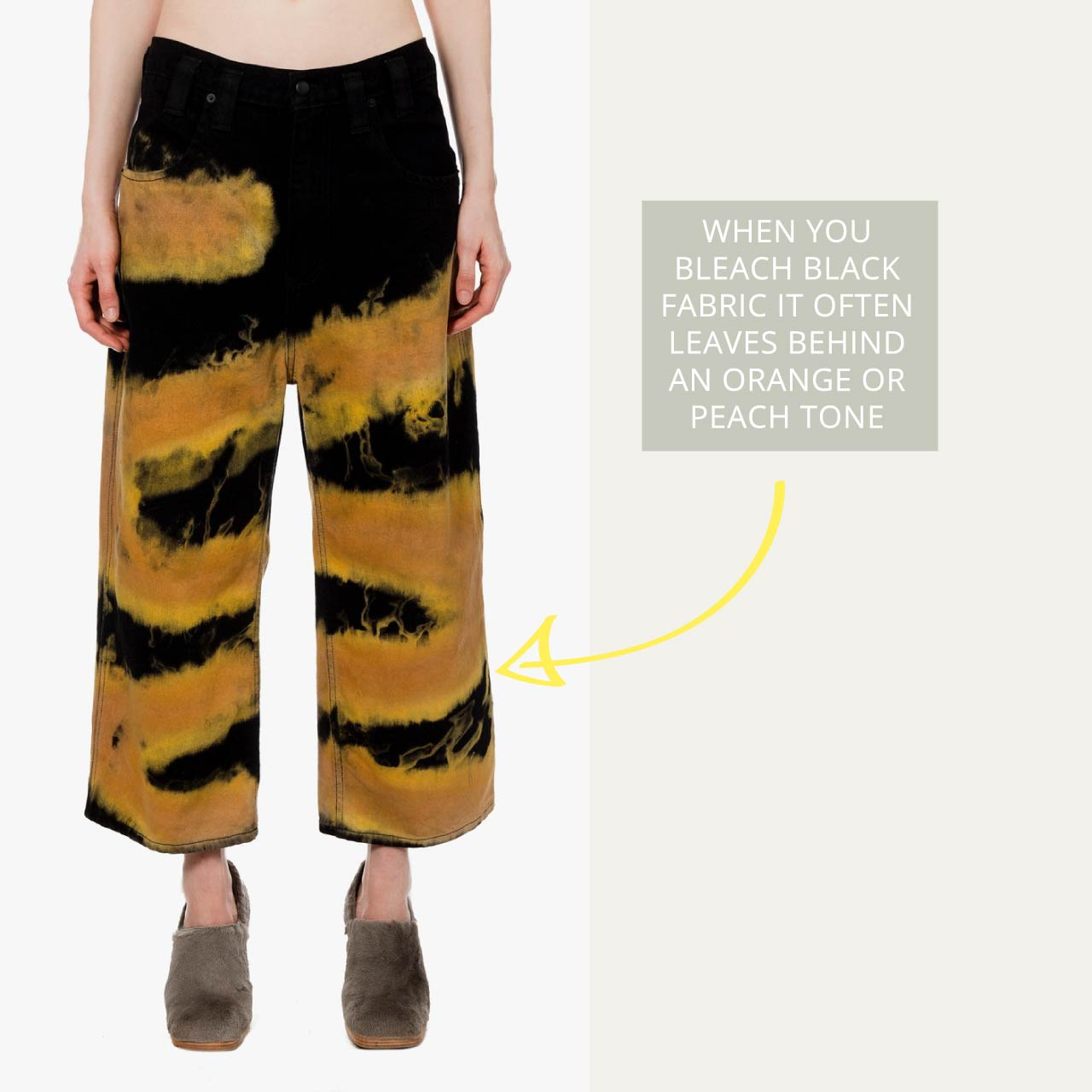 'Baggy Jean Chemtrail' Eckhaus Latta style shows how bleaching denim often results in an orange or peach tone.