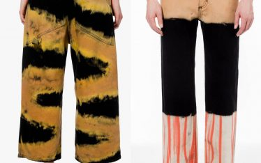 Bleached Jeans at Eckhaus Latta | The Cutting Class. Styles 'Baggy Jean Chemtrail' and 'Wide Leg Jean Tri Stacked' from the AW19 collection.