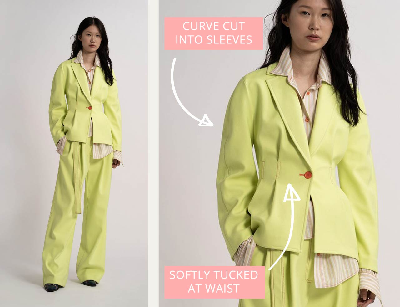 Sies Marjan Jacket Details | The Cutting Class. Jacket silhouette with tucks at waist and gently curved sleeve.