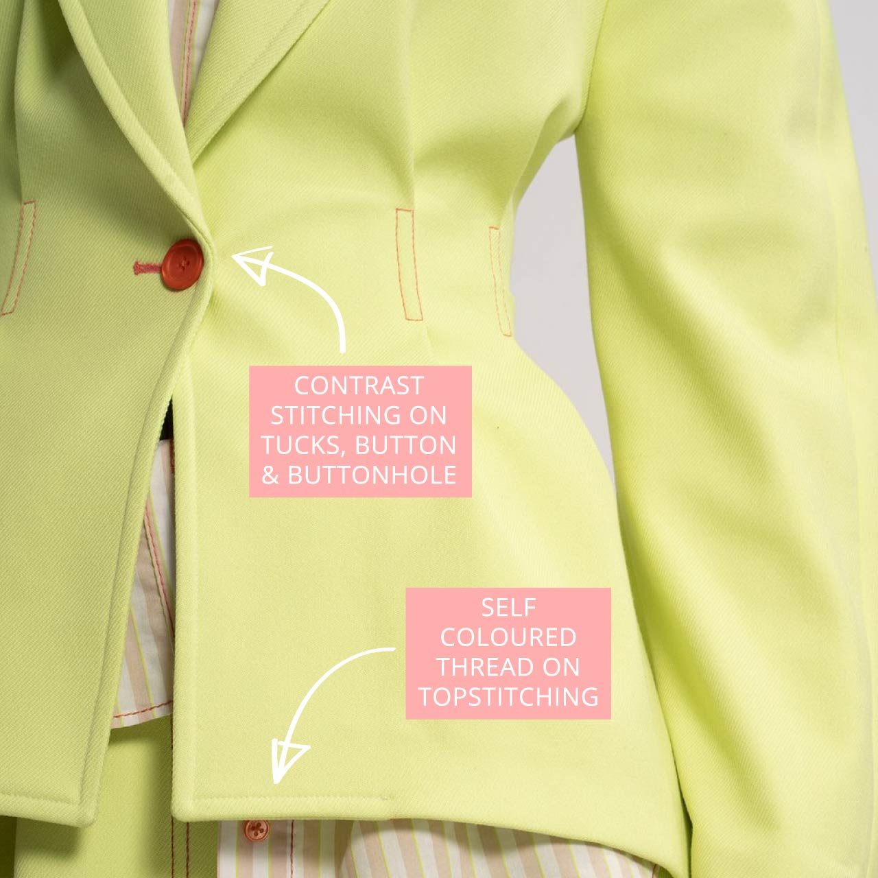 Detail of Sies Marjan Jacket from AW19. Featuring contrast stitching on tucks, button and buttonhole.