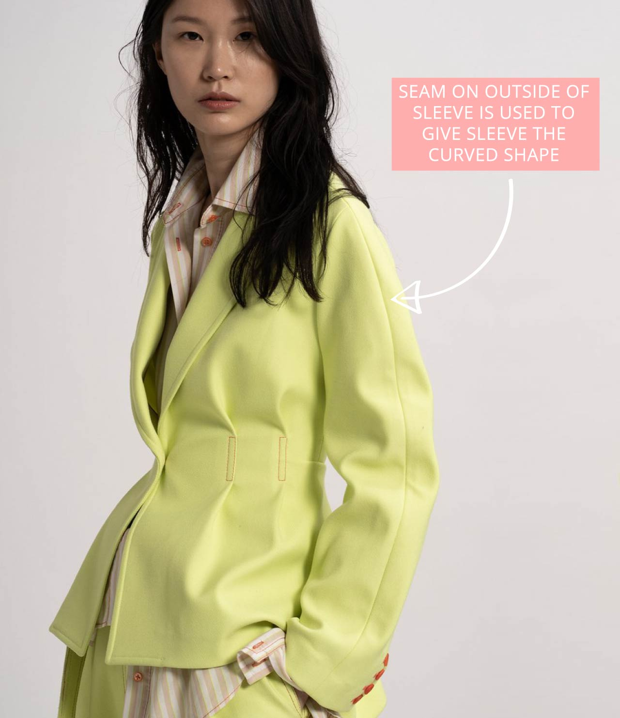 Sies Marjan Jacket Details   The Cutting Class. Curved sleeve shaped by outside seam.