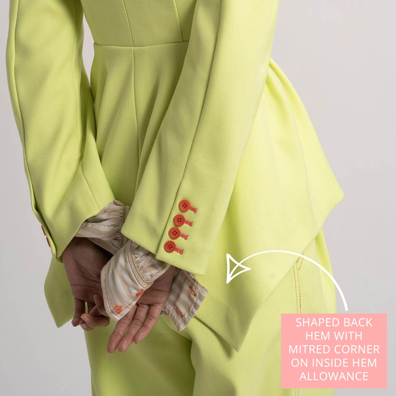 Sies Marjan Jacket Details   The Cutting Class. Haru Twill Waisted Jacket with shaped back hem with mitred corner on hem allowance.