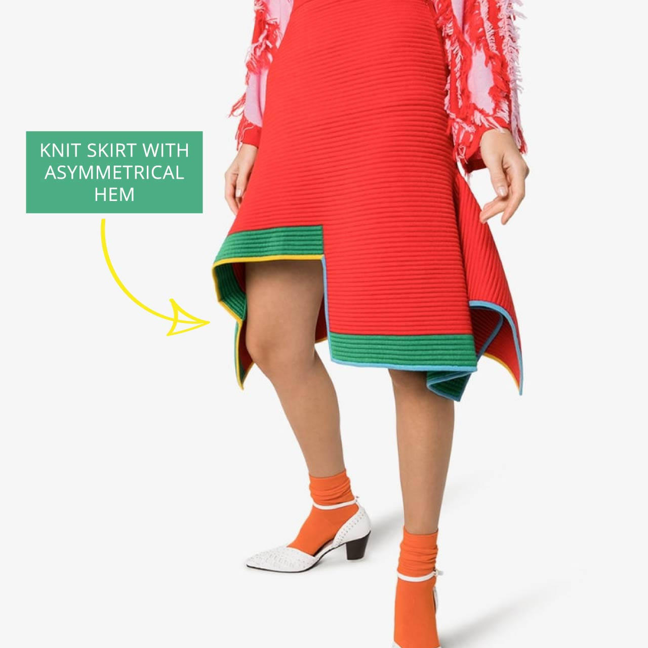 i-am-chen Engineered Knitwear | The Cutting Class. Red knit skirt with asymmetrical trim.