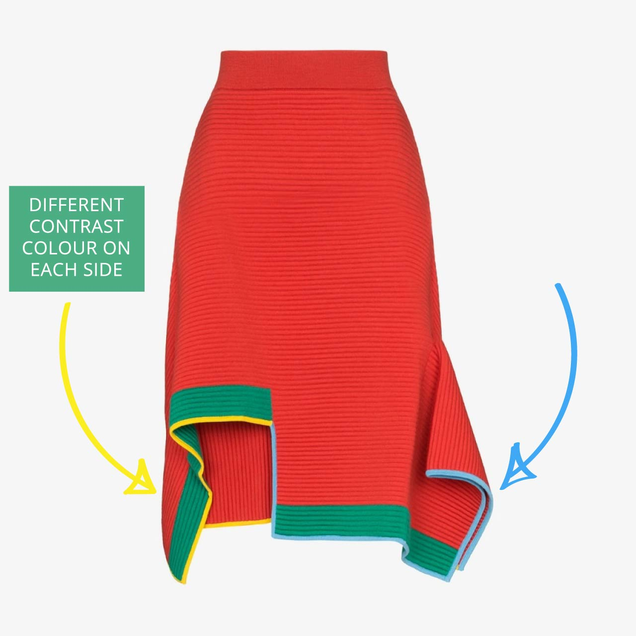 i-am-chen Engineered Knitwear | The Cutting Class. Red knit skirt from i-am-chen with contrast yellow and blue tipping.