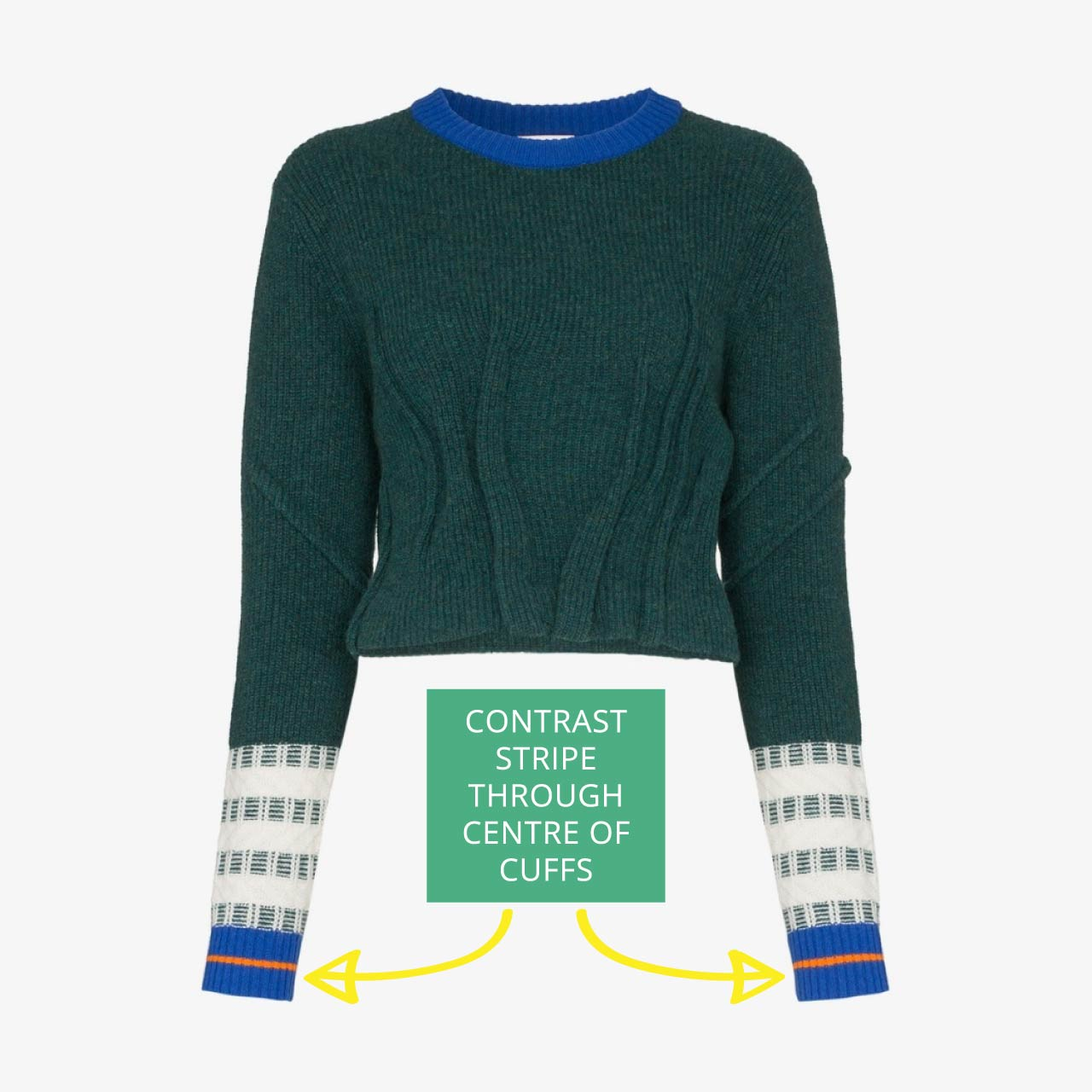 i-am-chen knitwear with contrast stripe on cuffs. By designer Zhi Chen on The Cutting Class.
