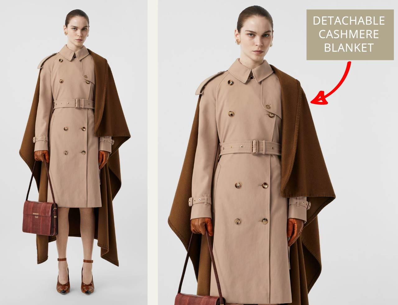 Burberry Trench Coat Details| The Cutting Class. Classic trench coat with detachable cashmere blanket.