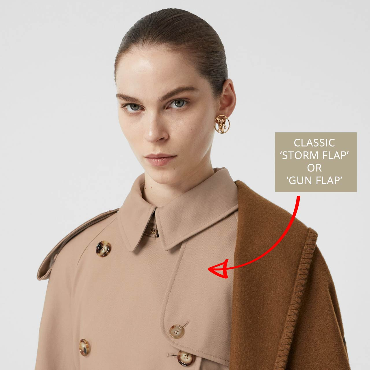 Burberry Trench Coat Details| The Cutting Class. Classic trench coat details such as storm flap or gun flap.